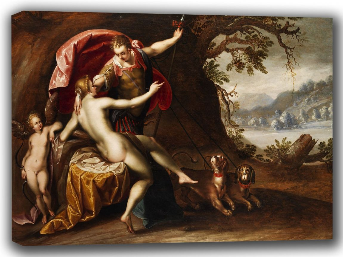 Aachen, Hans von: Venus and Adonis with Hounds. Fine Art Canvas. Sizes: A4/A3/A2/A1 (002046)